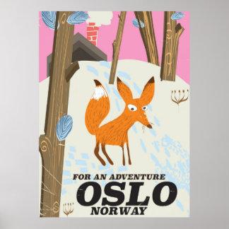 Poster Affiche vintage de voyage de renard d'Oslo Norvège