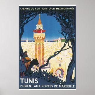 Poster Affiche vintage de voyage de Tunis