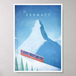 Poster Affiche vintage de voyage de Zermatt de ski