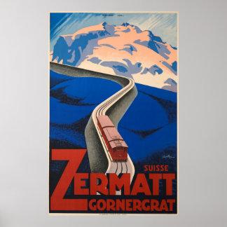 Poster Affiche vintage de voyage de Zermatt Suisse