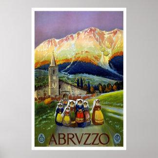 """Affiche vintage de voyage du """"Abruzzo, Italie"""""""