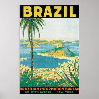 Poster Affiche vintage de voyage du Brésil