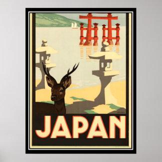 Poster Affiche vintage de voyage du Japon