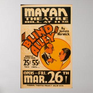 Poster Affiche vintage de WPA d'allée aveugle d'arts du