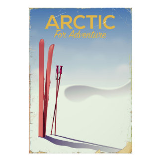 Poster Affiche vintage d'exploration d'aventure de ski