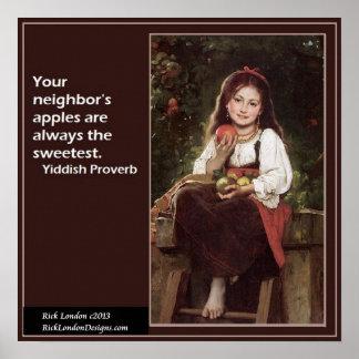 Poster Affiche Yiddish célèbre d'énonciation et de graphi