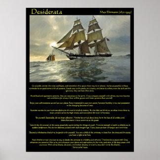 Poster Affiches de bateau à voile de desiderata