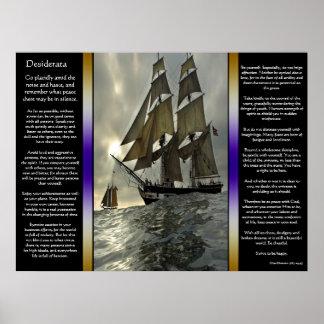 Poster Affiches de bateau à voile d'océan de desiderata