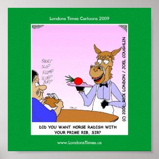 Poster Affiches drôles de Cartoom de serveurs de cheval