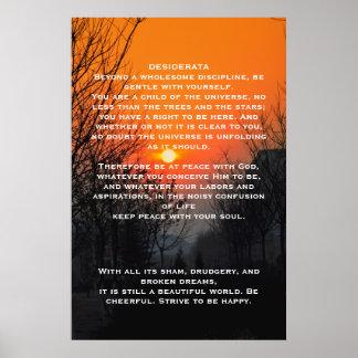 Poster Affiches oranges de passage couvert de DESIDERATA