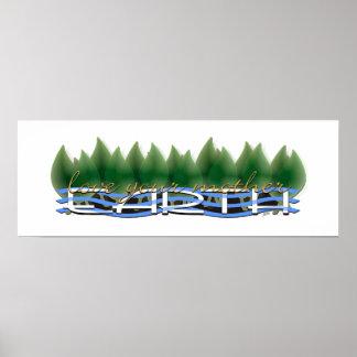 Poster Aimez votre Terre : Verdissez le feuille et l'eau