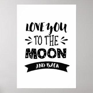 Poster Aimez-vous à la lune et à l'affiche arrière