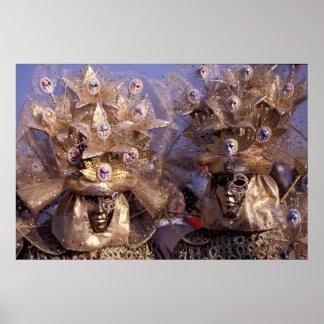 Poster Ajouter vénitiens aux costumes d'or de carnaval