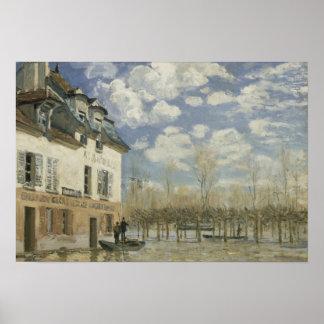 Poster Alfred Sisley - bateau dans l'inondation au port
