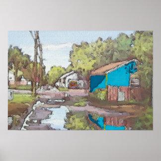 Poster Allée de Lakeview dans le bleu