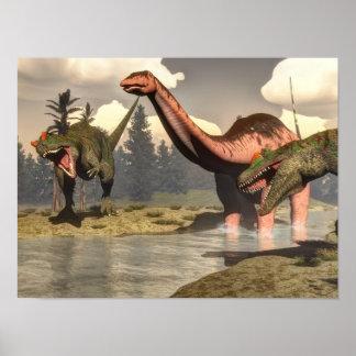 Poster Allosaurus chassant le grand dinosaure de