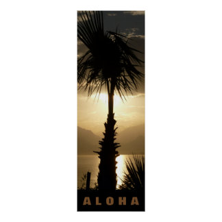 Poster Aloha voyage de coucher du soleil de tropiques de