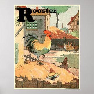 Poster Alphabet de coqs, de poules et de poussins de bébé