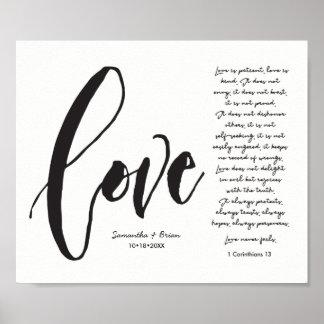 Poster Amour, 1 cor. 13, nom de couples, manuscrit