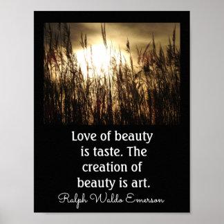Poster Amour de beauté - citation d'Emerson -- Copie
