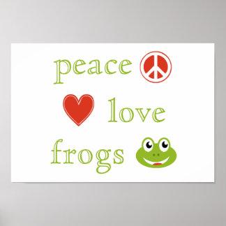 Poster Amour et grenouilles de paix