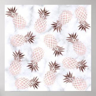 Poster ananas rose d'or de marbre blanc moderne élégant