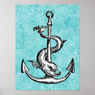 Poster Ancre et dauphin - Festina Lente
