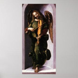 Poster Ange en vert avec un Vielle par Leonardo da Vinci