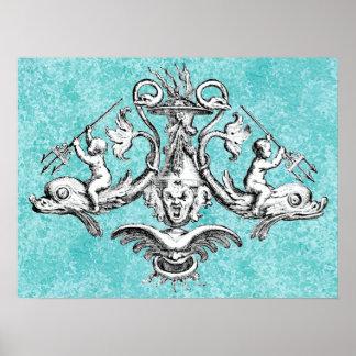 Poster Anges montant des dauphins avec des tridents