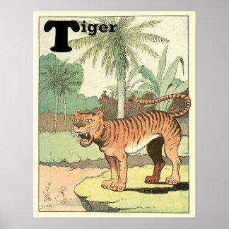 Poster Animal d'alphabet de livre d'histoire de tigre