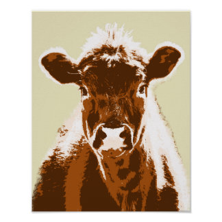 Poster Animal de ferme de vache à Brown