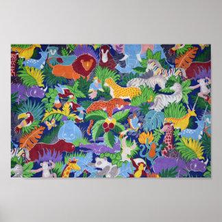 Poster Animaux colorés de jungle