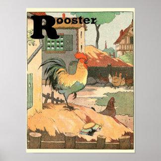 Poster Animaux d'alphabet de coq et de poules