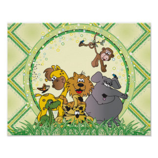 Poster Animaux de bébé de jungle de safari