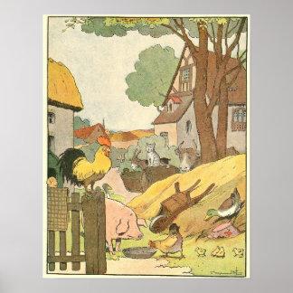 Poster Animaux de ferme colorés illustrés