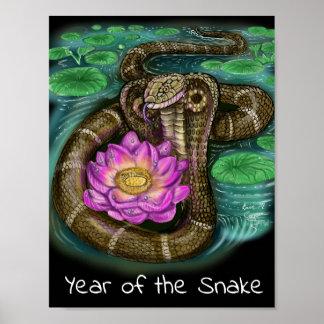 Poster Année chinoise de zodiaque du serpent