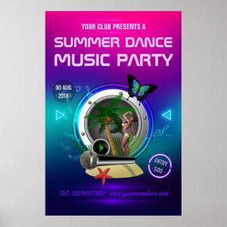 Poster Annonce de partie de musique de danse d'été de