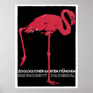 Poster Annonce rouge vintage de voyage de zoo de Munich
