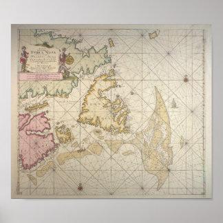 Poster Antique dutch map of Newfoundland