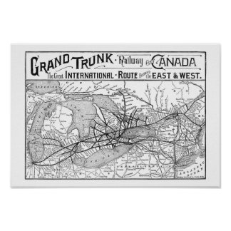 Poster Antique Grand Trunk Railway of Canada Map