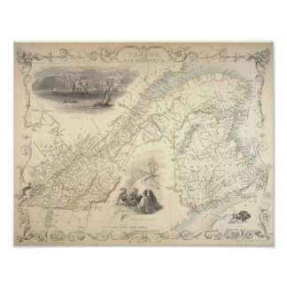 Poster Antique Map of East Canada and New Brunswick 1857