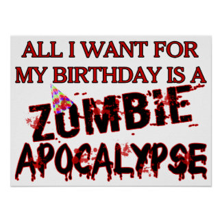 Poster Apocalypse de zombi d'anniversaire