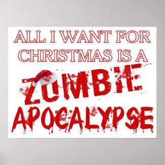 Poster Apocalypse de zombi de Noël