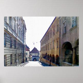 Poster Approche de la porte en pierre à Zagreb