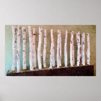 Poster Aquarelle abstraite d'arbres de bouleau
