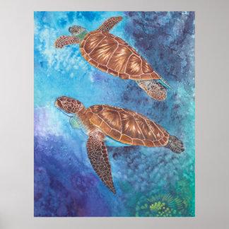 Poster Aquarelle de tortues de mer
