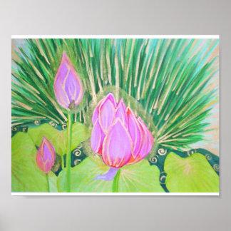 Poster Aquarelle Lotus avec des accents d'or