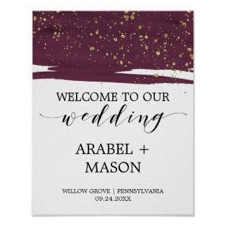Poster Aquarelle Marsala et accueil de mariage