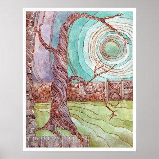 Poster Aquarelle surréaliste de paysage d'imaginaire