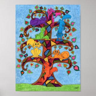 Poster Arbre de chat de mosaïque de la vie